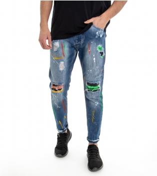 Jeans Uomo Denim Pantalone Cinque Tasche Cavallo Basso Rotture Macchie Di Pittura a Colori GIOSAL