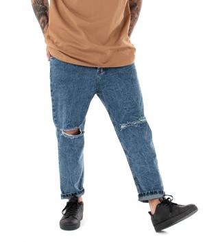 Pantalone Uomo Jeans Denim Paul Barrell Taglio Ginocchia Cavallo Basso Casual GIOSAL