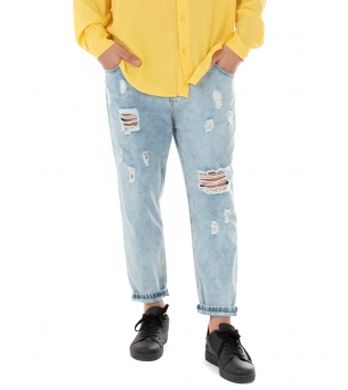Pantalone Uomo Jeans Rotture Denim Chiaro Cinque Tasche Paul Barrell Casual GIOSAL