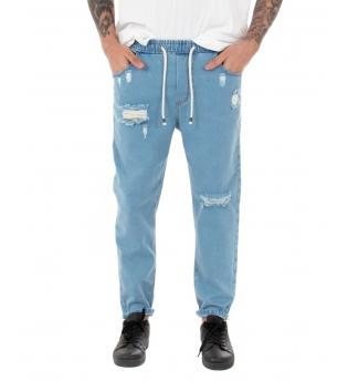 Pantalone Uomo Jeans Rotture Denim Chiaro Equipe Elastico Coulisse GIOSAL