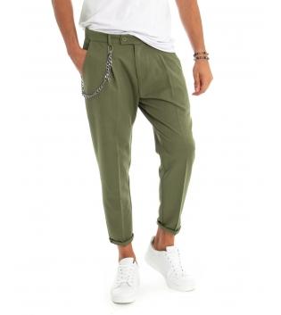 Pantalone Uomo Cavallo Basso Verde Tasca America Casual Affusolato Tinta Unita Accessorio GIOSAL -Verde-42