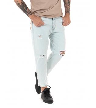 Pantalone Uomo Jeans Denim Chiaro Strappi Rotture Cinque Tasche GIOSAL