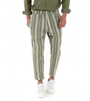 Pantalone Uomo Cotone Rigato Verde Fantasia a Righe Elastico Coulisse GIOSAL-Verde-S