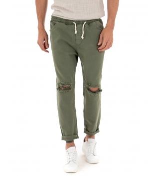 Pantalone Uomo Lungo Tinta Unita Verde Paul Barrell Elastico Rotture GIOSAL-Verde-S