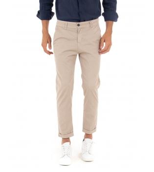 Pantalone Uomo Cotone Microfantasia Beige Tasca America Casual GIOSAL-Beige-42
