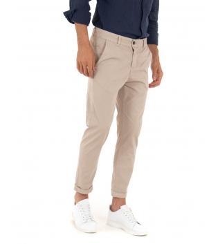 Pantalone Uomo Cotone Microfantasia Beige Tasca America Casual GIOSAL