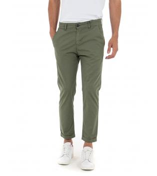 Pantalone Uomo Cotone Microfantasia Verde Tasca America Casual GIOSAL-Verde-42