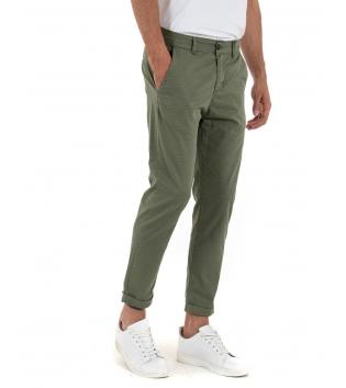 Pantalone Uomo Cotone Microfantasia Verde Tasca America Casual GIOSAL