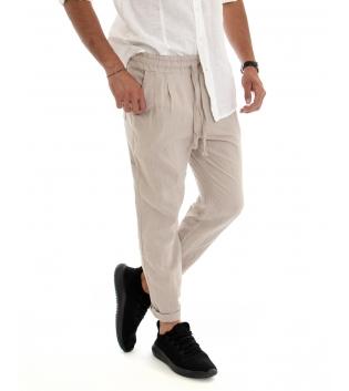 Pantalone Uomo Lino Cotone Beige Elastico Coulisse Tasca America Casual GIOSAL