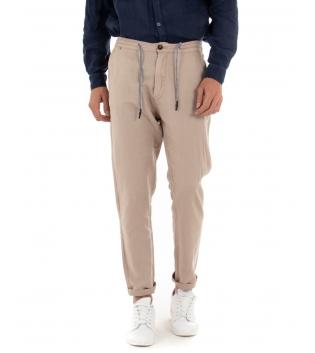 Pantalone Uomo Lino Tinta Unita Beige Coulisse Tasca America Casual GIOSAL-Beige-42