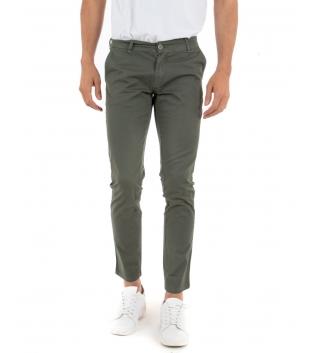 Pantalone Uomo Lungo Tinta Unita Verde Microfantasia Cerchi Tasca America GIOSAL-Verde-42