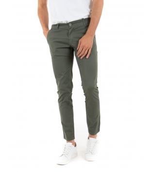 Pantalone Uomo Lungo Tinta Unita Verde Microfantasia Cerchi Tasca America GIOSAL