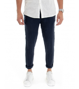 Pantalone Uomo Lungo Lino Tinta Unita Blu Tasca America Casual Laccio GIOSAL