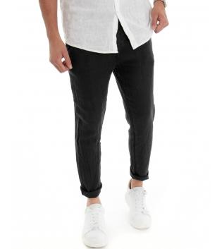 Pantalone Uomo Lungo Lino Tinta Unita Nero Tasca America Casual Laccio GIOSAL
