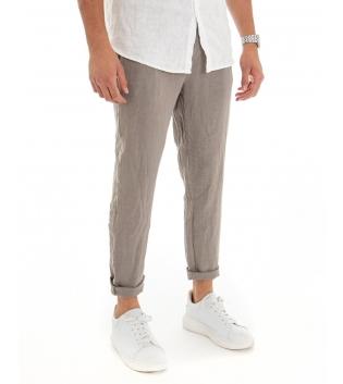 Pantalone Uomo Lungo Lino Tinta Unita Fango Tasca America Casual Laccio GIOSAL