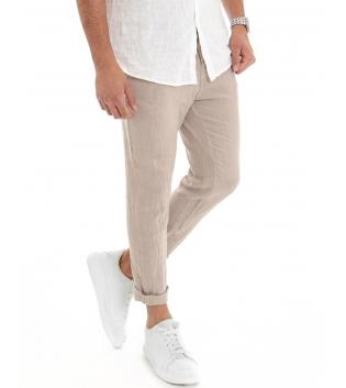 Pantalone Uomo Lungo Lino Tinta Unita Beige Tasca America Casual Laccio GIOSAL