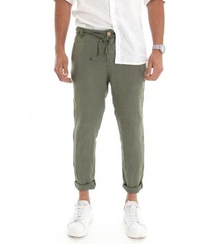 Pantalone Uomo Lungo Lino Tinta Unita Verde Tasca America Casual Laccio GIOSAL-Verde-S