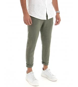 Pantalone Uomo Lungo Lino Tinta Unita Verde Tasca America Casual Laccio GIOSAL