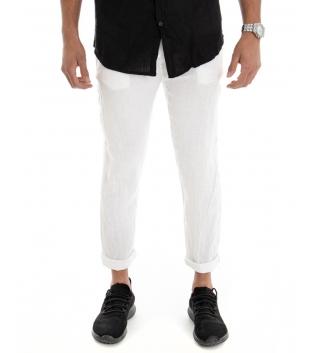 Pantalone Uomo Lungo Lino Tinta Unita Bianco Tasca America Casual Laccio GIOSAL