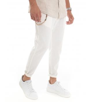 Pantalone Uomo Lino Tinta Unita Bianco Catenina Tasca America GIOSAL