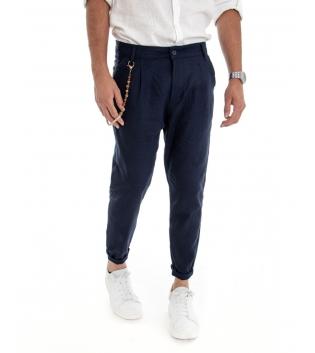 Pantalone Uomo Lino Tinta Unita Blu Catenina Tasca America GIOSAL