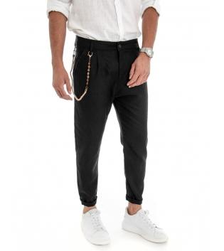 Pantalone Uomo Lino Tinta Unita Nero Catenina Tasca America GIOSAL