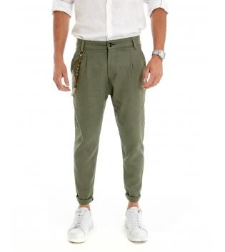 Pantalone Uomo Lino Tinta Unita Verde Catenina Tasca America GIOSAL-Verde-S