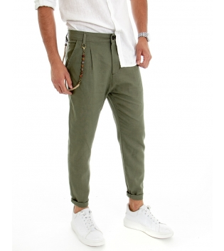 Pantalone Uomo Lino Tinta Unita Verde Catenina Tasca America GIOSAL
