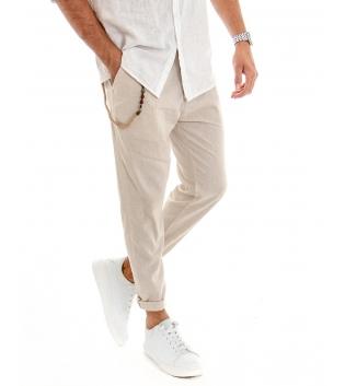 Pantalone Uomo Lino Tinta Unita Beige Catenina Tasca America GIOSAL