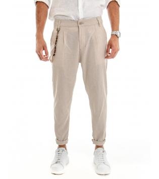 Pantalone Uomo Lino Tinta Unita Beige Catenina Tasca America GIOSAL-Beige-M