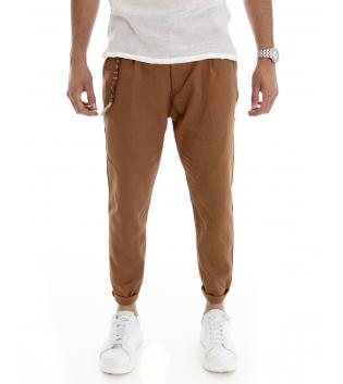 Pantalone Uomo Lino Tinta Unita Camel Catenina Tasca America GIOSAL