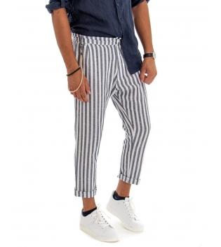 Pantalone Uomo Lino Riga Stretta Blu Tasca America Rigato GIOSAL