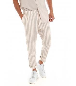Pantalone Uomo Lino Riga Stretta Beige Tasca America Rigato GIOSAL-Beige-S