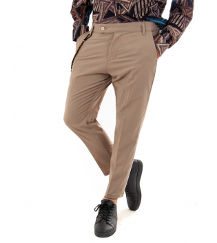 Pantalone Uomo Lungo Tinta Unita Camel Classico Casual GIOSAL