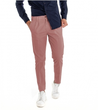 Pantalone Uomo Lungo Classico Tinta Unita Rosa Scuro Pinces Tasca America GIOSAL