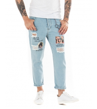 Pantalone Uomo Lungo Jeans Stampe Paul Barrell Rotture Casual GIOSAL