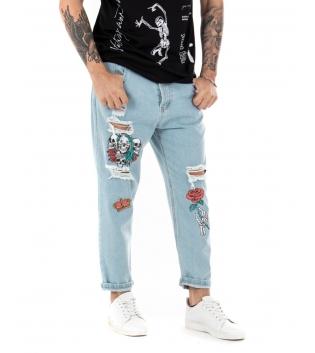 Pantalone Uomo Lungo Jeans Paul Barrell Stampe Rotture Cinque Tasche GIOSAL