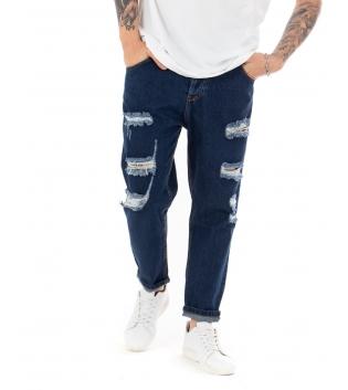 Pantalone Uomo Jeans Denim Blu Paul Barrell Rotture Cinque Tasche GIOSAL