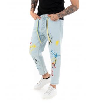 Pantalone Uomo Jeans Denim Chiaro Macchie di Pittura Multicolore Coulisse Casual GIOSAL