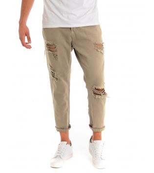 Pantalone Uomo Jeans Paul Barrell Tinta Unita Beige Rotture Cavallo Basso GIOSAL-Beige-42
