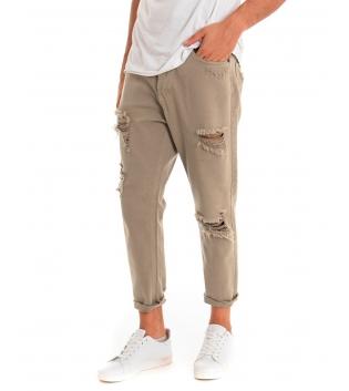 Pantalone Uomo Jeans Paul Barrell Tinta Unita Beige Rotture Cavallo Basso GIOSAL