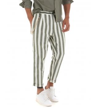 Pantalone Uomo Lino Rigato Verde Catena Fantasia Righe Bicolore Elastico Elegante Casual GIOSAL
