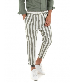 Pantalone Uomo Lino Rigato Verde Elastico Coulisse Fantasia Righe Bicolore Tasca America Casual GIOSAL