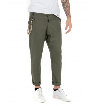 Pantalone Uomo Lungo Lino Tinta Unita Verde Casual Tasca America Bottone GIOSAL-Verde-M