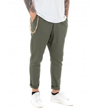 Pantalone Uomo Lungo Lino Tinta Unita Verde Casual Tasca America Bottone GIOSAL