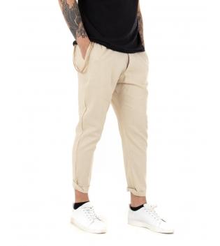 Pantalone Uomo Lungo Lino Tinta Unita Beige Casual Tasca America Bottone GIOSAL