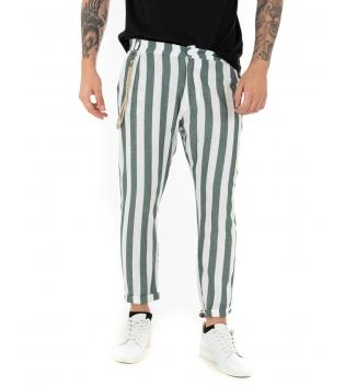 Pantalone Uomo Lino Verde Casual Tasca America Rigato Casual GIOSAL-Verde-S