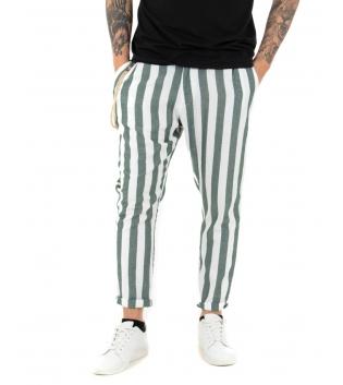 Pantalone Uomo Lino Verde Casual Tasca America Rigato Casual GIOSAL