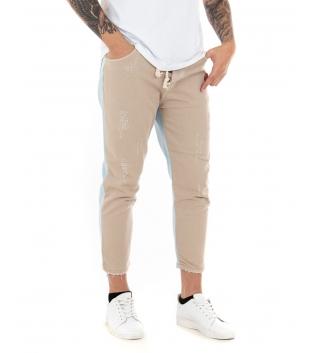 Pantalone Uomo Lungo Camel Jeans Corda Casual Cinque Tasche GIOSAL-Beige-42