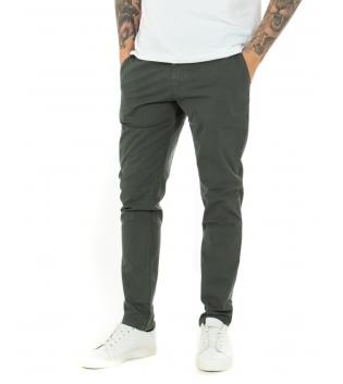 Pantalone Uomo Tinta Unita MIcrofantasia Regular Fit Classico Casual GIOSAL-Verde-42